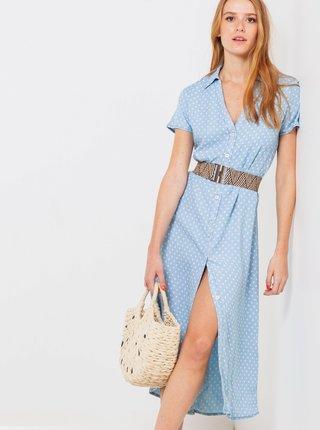 Modré puntíkované košilové midi šaty CAMAIEU