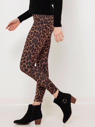 Hnědé legíny s leopardím vzorem CAMAIEU