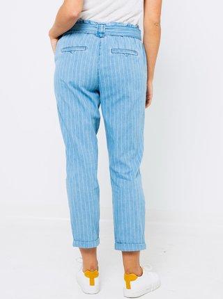 Modré zkrácené pruhované kalhoty CAMAIEU