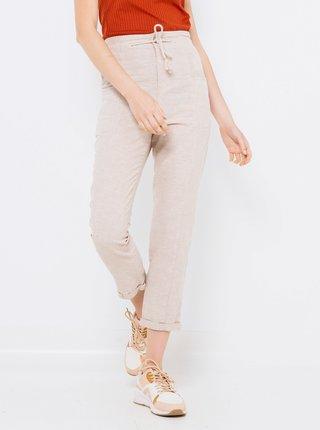 Béžové lněné zkrácené kalhoty CAMAIEU
