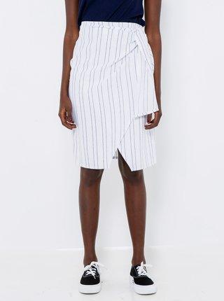 Bílá lněná pruhovaná sukně CAMAIEU