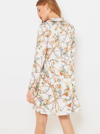 Bílé květované košilové šaty CAMAIEU