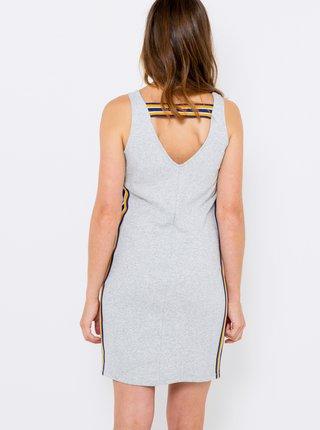 Šedé pouzdrové šaty s lampasem CAMAIEU