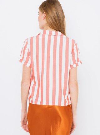 Růžovo-bílá pruhovaná košile se zavazováním CAMAIEU