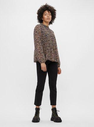 Černé zkrácené straight fit džíny Pieces Luna