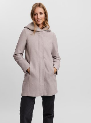 Šedý kabát s kapucí VERO MODA Dafnedora