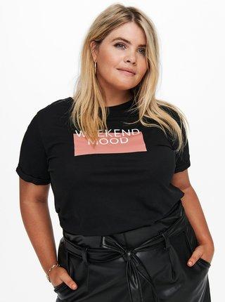 Čierne tričko s potlačou ONLY CARMAKOMA Weekend