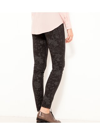 Černé vzorované skinny fit kalhoty CAMAIEU