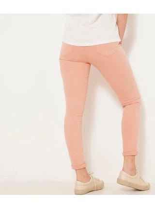 Meruňkové zkrácené skinny fit kalhoty CAMAIEU
