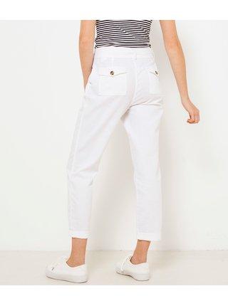 Bílé lněné kalhoty se zavazováním CAMAIEU