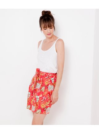 Červená vzorovaná sukně CAMAIEU