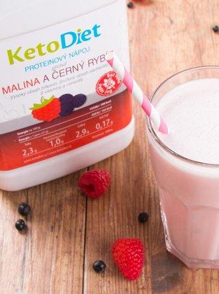 Proteinový nápoj s příchutí maliny a černého rybízu na 1 týden KetoDiet (35 porcí)
