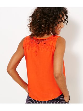 Oranžový top s výšivkou CAMAIEU