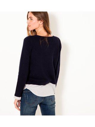 Tmavě modrý lehký svetr s vsadkou CAMAIEU