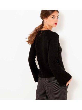 Černý vzorovaný svetr s mašlí CAMAIEU