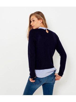 Tmavomodrý sveter s košeľovou vsadkou CAMAIEU