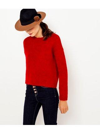 Červený sveter s prímesou vlny CAMAIEU