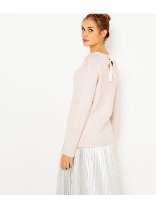 Svetloružový sveter so zaväzovaním na chrbte CAMAIEU