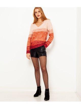 Oranžový žíhaný sveter CAMAIEU