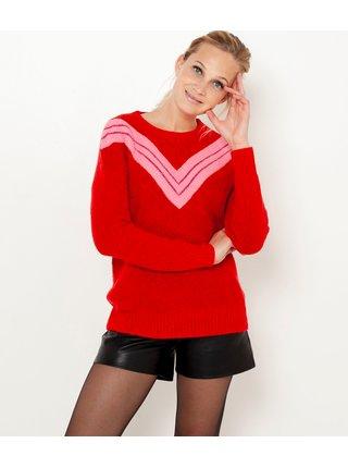 Červený sveter so vzorom CAMAIEU