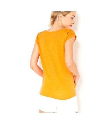 Oranžové tričko s krajkovými detaily CAMAIEU