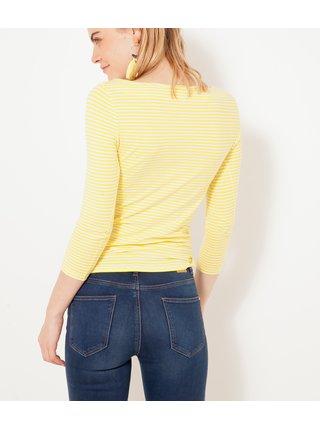 Žluté pruhované basic tričko CAMAIEU