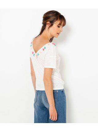 Bílé tričko s ozdobnými detaily CAMAIEU