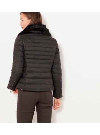 Tmavě šedá prošíváná zimní bunda s umělým kožíškem CAMAIEU