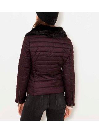 Vínová prošívaná zimní bunda s umělým kožíškem CAMAIEU