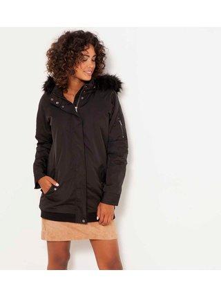 Čierna dlhá zimná bunda s kapucou CAMAIEU