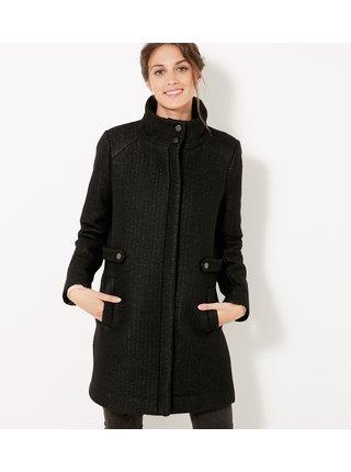Černý zimní kabát s příměsí vlny CAMAIEU