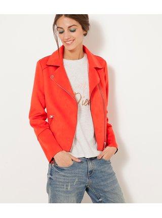 Červená bunda v semišovej úprave CAMAIEU
