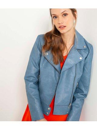 Modrá koženková bunda CAMAIEU