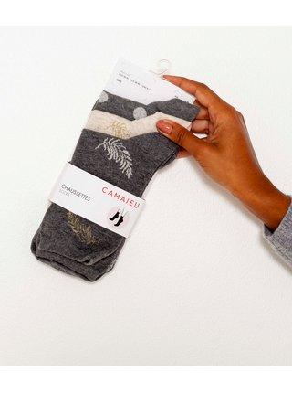 Sada troch párov ponožiek v šedej a béžovej farbe CAMAIEU