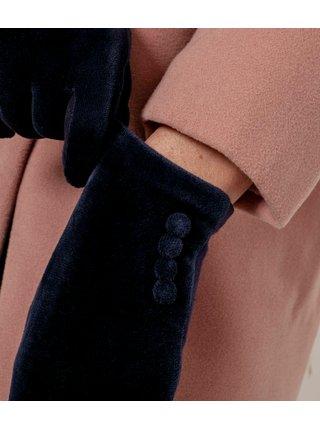 Tmavomodré sametové rukavice CAMAIEU
