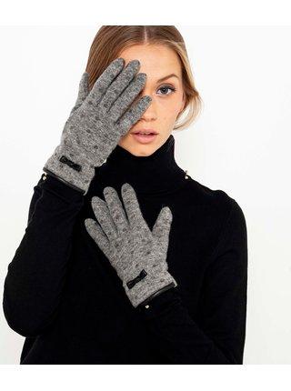 Šedé bodkované vlnené rukavice CAMAIEU