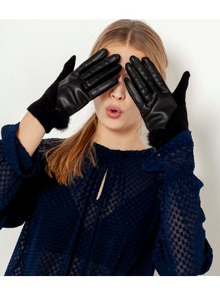 Černé vlněné rukavice s koženkovými detaily CAMAIEU