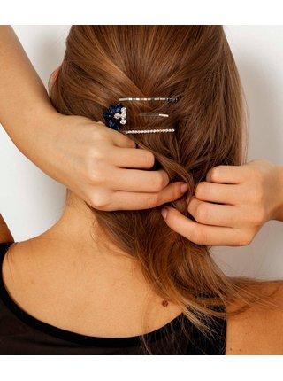 Sada troch sponiek do vlasov v striebornej farbe CAMAIEU