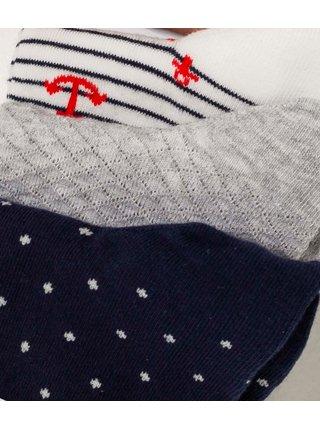 Sada troch párov vzorovaných ponožiek v  tmavomodré, šedej a bielej farbe CAMAIEU