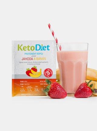 Proteinový nápoj s příchutí jahody a banánu KetoDiet (7 porcí)