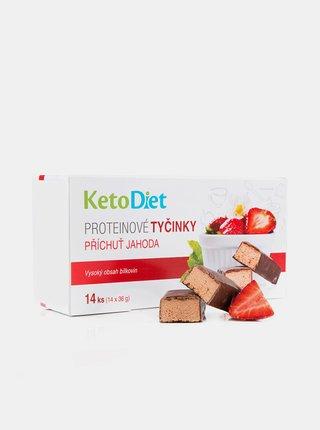 Proteinové tyčinky s jahodovou příchutí KetoDiet (14 ks - 7 porcí)