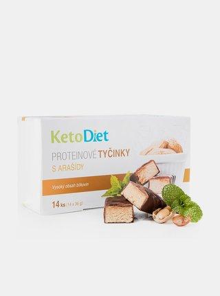 Proteinové tyčinky s arašídovou příchutí KetoDiet (14 ks - 7 porcí)