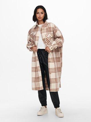 Krémová  kostkovaná dlouhá lehká bunda ONLY Lou-Epi
