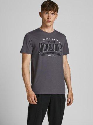 Tmavošedé tričko s potlačou Jack & Jones