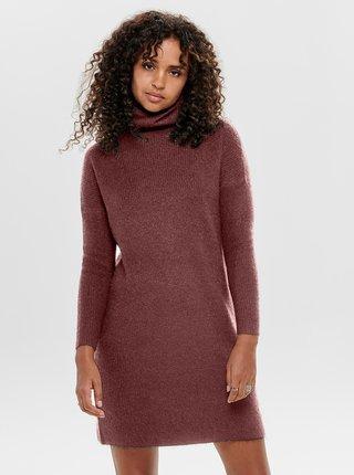 Hnědé svetrové šaty s rolákem ONLY Jana