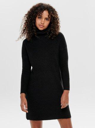 Čierne svetrové šaty s rolákom ONLY Jana