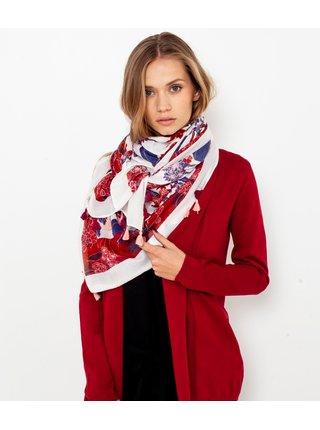 Bielo-červená kvetovaný šatka CAMAIEU