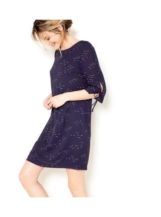 Tmavě modré vzorované šaty s 3/4 rukávem CAMAIEU