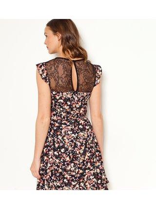 Černé květované šaty s krajkou CAMAIEU
