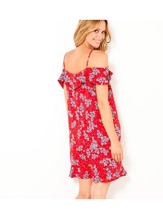 Červené květované šaty na ramínka CAMAIEU